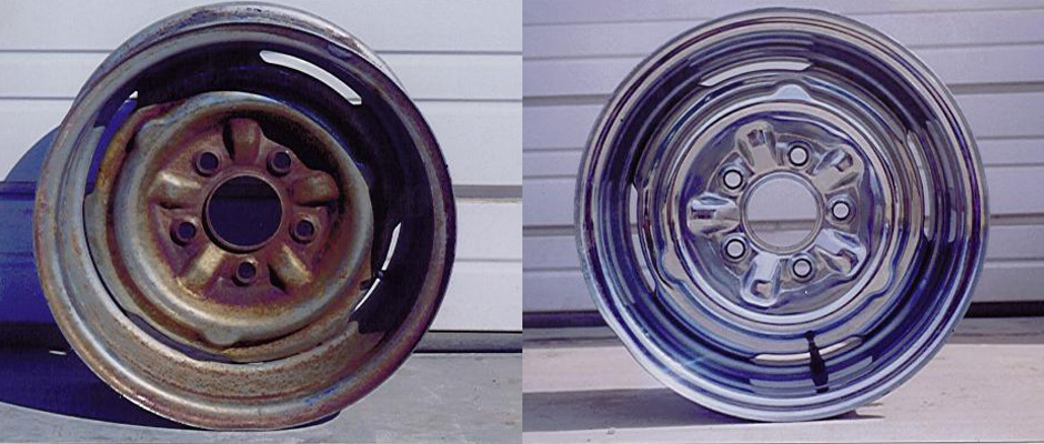 before and after rusty chrome cleaned with evapo-rust