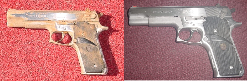 before and after picture of a rusty gun cleaned with evapo-rust