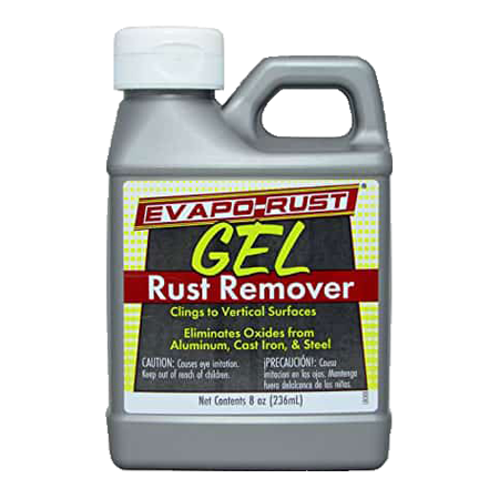 Evapo-rust gel safe rust remover on vertical surfaces